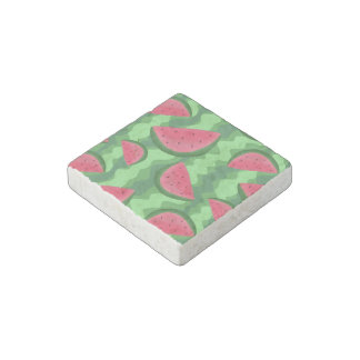 Watermelon Slices Pattern Stone Magnet