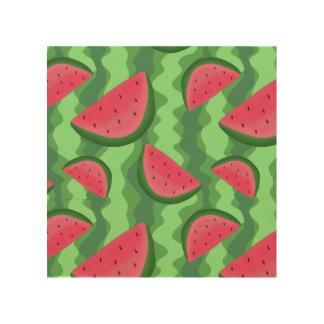 Watermelon Slices Pattern Wood Print