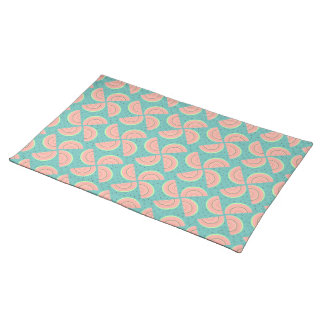 Watermelon Slices Pinwheel and Boho Seeds Look Cloth Placemat