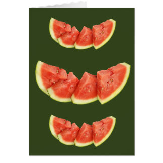 Watermelon Slices Rounded Triangles Cards