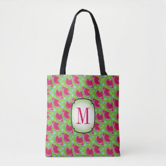 Watermelon Slices with Blue Dots, Monogram Tote Bag