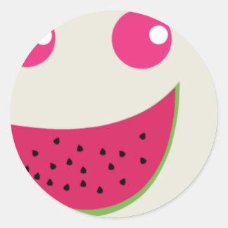 Watermelon Smile Classic Round Sticker