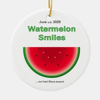 Watermelon Smiles Ceramic Ornament