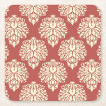 Watermelon Southern Cottage Chevrons Square Paper Coaster