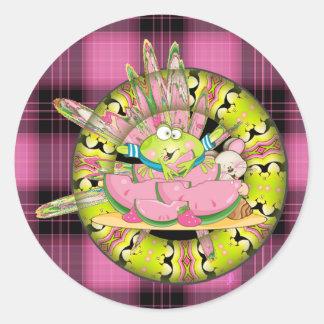 Watermelon Splash Frog Round Sticker
