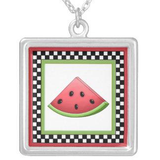 Watermelon Square Checkerboard Necklace