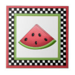"""Watermelon Square Checkerboard Tiles &amp; Trivets<br><div class=""""desc"""">Add color and freshness to your dining table or to your kitchen d&#233;cor by using these delightful, juicy Watermelon Square Checkerboard Tiles &amp; Trivets. Watermelon is a mouth-watering original illustration created by Debi Payne Designs. Its beautiful variegated shading of watermelon pink is the focal point of this luscious slice of...</div>"""