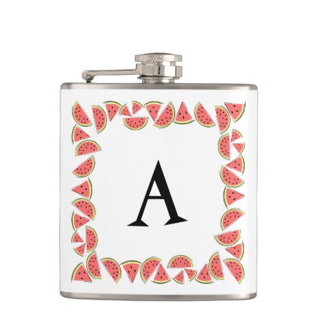 Watermelon Square Monogram Flask