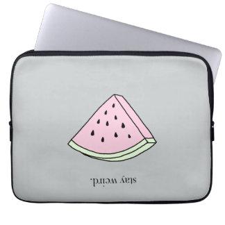 watermelon stay weird laptop sleeve