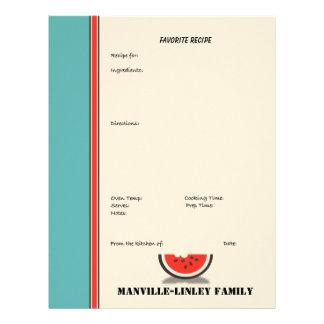 Watermelon Stripe Custom Recipe Page (unlined) Letterhead