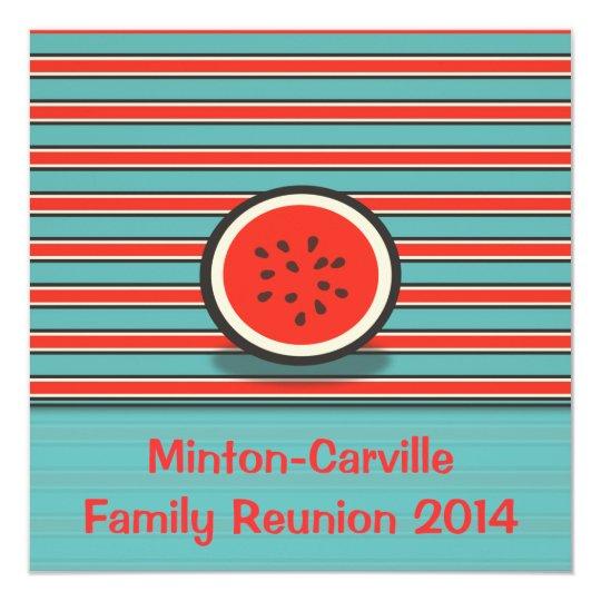 Watermelon Stripes Family Reunion Party Invitation