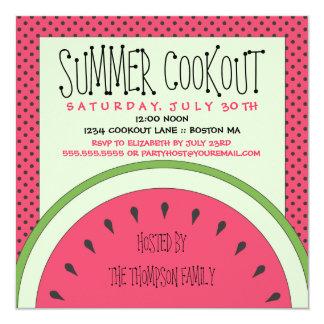 """Watermelon Summer Cookout Invitation 5.25"""" Square Invitation Card"""