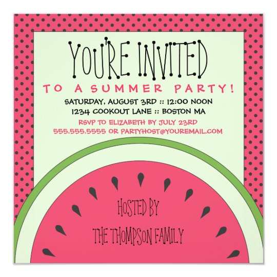 watermelon summer party invitation | zazzle, Party invitations