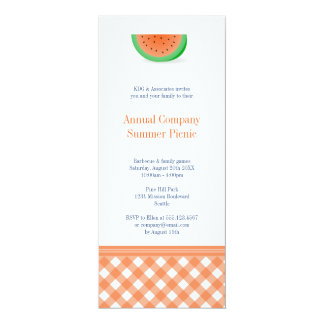 """Watermelon summer picnic red gingham outdoor event 4"""" x 9.25"""" invitation card"""