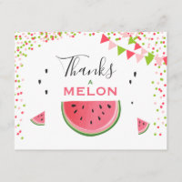 Watermelon Thank you card Thanks a Melon birthday