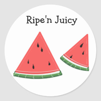 Watermelon that's Ripe'n Juicy Round Stickers