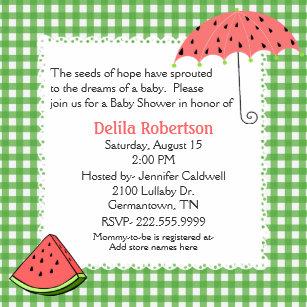 Watermelon Baby Shower Invitations Zazzle