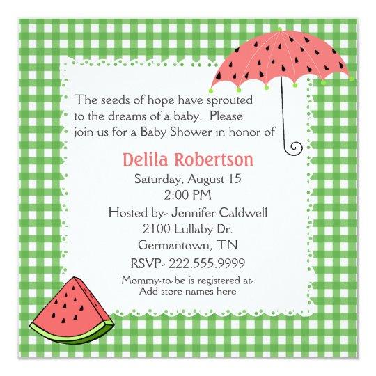 Watermelon Theme Baby Shower Custom Invitation Zazzlecom