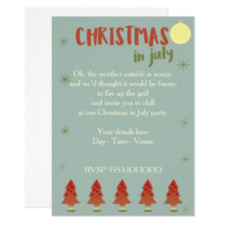 Watermelon Trees Christmas In July Party Invite at Zazzle