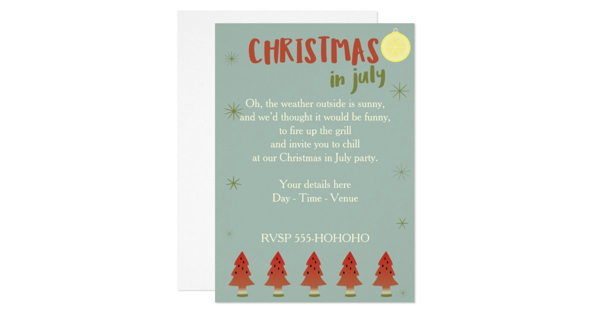 Christmas In July Invitations & Announcements | Zazzle