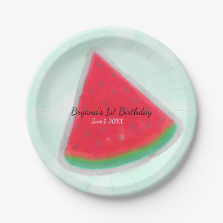 Watermelon Watercolor Birthday Party Personalized Paper Plate