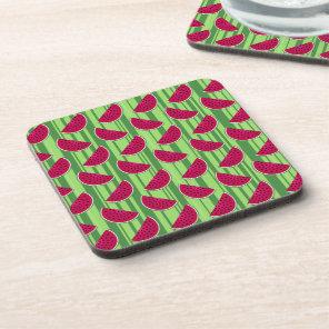 Watermelon Wedges Pattern Beverage Coaster