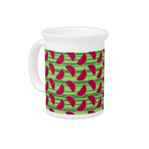 Watermelon Wedges Pattern Beverage Pitcher