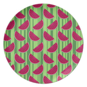 Watermelon Wedges Pattern Dinner Plate
