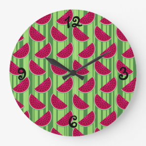 Watermelon Wedges Pattern Large Clock