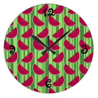 Watermelon Wedges Pattern Large Clock