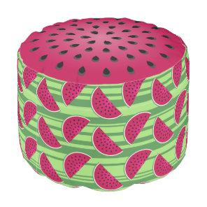Watermelon Wedges Pattern Pouf