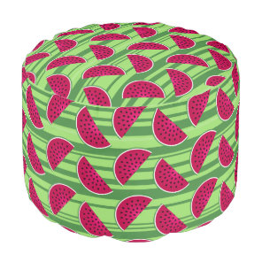 Watermelon Wedges Pattern Pouf