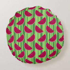 Watermelon Wedges Pattern Round Pillow