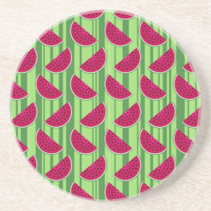 Watermelon Wedges Pattern Sandstone Coaster