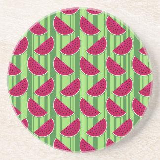 Watermelon Wedges Pattern Sandstone Coaster