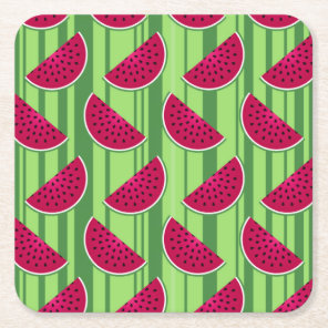 Watermelon Wedges Pattern Square Paper Coaster