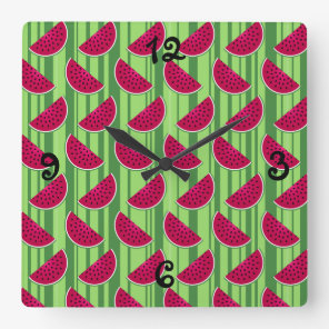 Watermelon Wedges Pattern Square Wall Clock