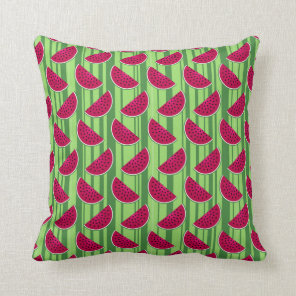Watermelon Wedges Pattern Throw Pillow