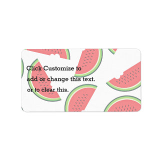 Watermelon With A Bite Missing On White Background Address Label