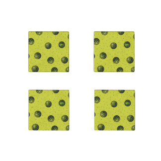 Watermelon with Seeds Pattern (yellow) Stone Magnet