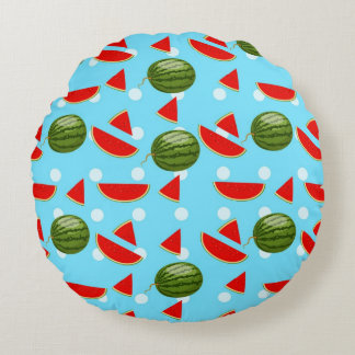 Watermelon With Slice Round Pillow