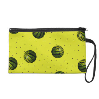 watermelon yellow with seeds wristlet purse