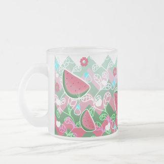 Watermelon Zigzag Pattern Frosted Glass Coffee Mug