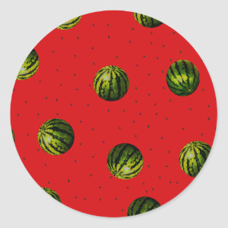 watermelons and seeds classic round sticker