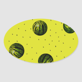 watermelons and seeds products oval sticker