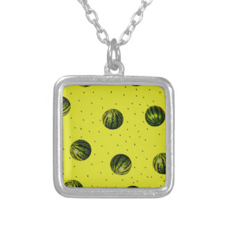 watermelons and seeds products square pendant necklace