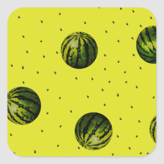 watermelons and seeds products square sticker