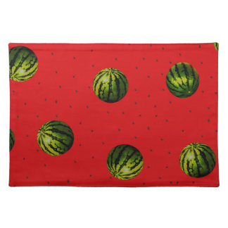 watermelons and seeds red products cloth placemat