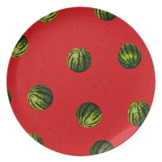 watermelons and seeds red products plate