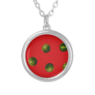 watermelons and seeds red products round pendant necklace